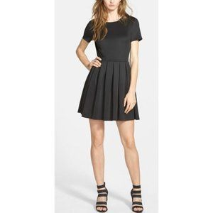 WAYF Black Skater Dress Fit and Flare Pleat Skirt